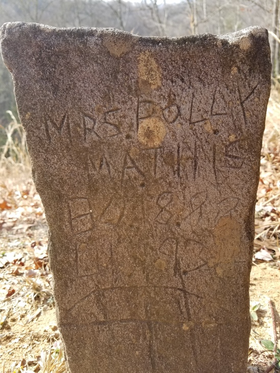 The grave of Mrs. Polly Mathis